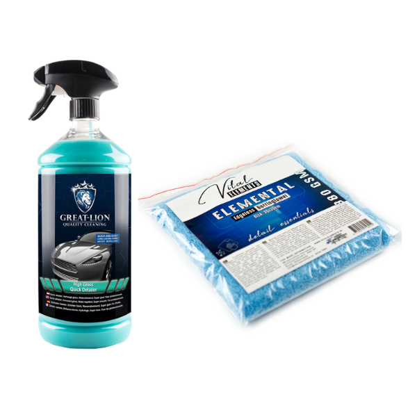 Combinatie High Gloss Quick Detailer en Element edgeless buffingtowel