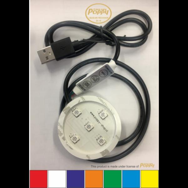 Poppy ledverlichting RGB 12-24 volt USB-aansluiting 7 kleuren